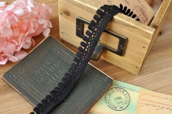 1.8cm x 2yards (black) cotton crochet lace trim (S486)