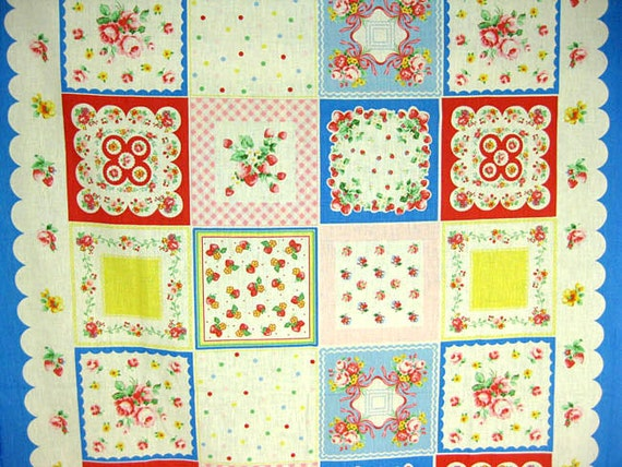 2660 - Japanese Chic Rose Floral Squares Cotton Linen Blend Fabric - 43 Inch (Width) x 24 Inch (Length)