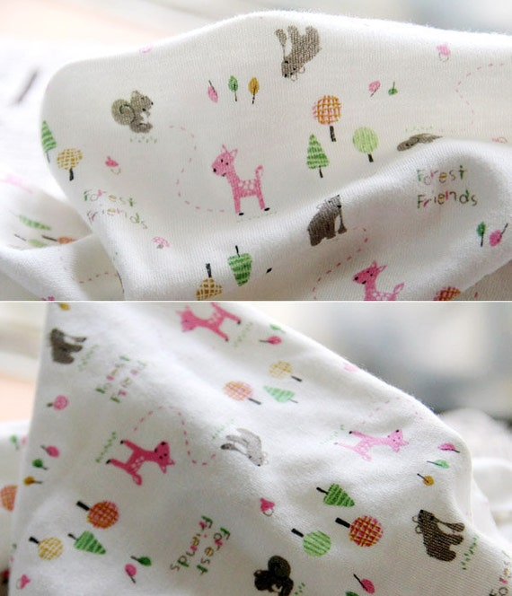 2786 - Forest Friends Cotton Jersey Knit Fabric - 70 Inch (Width) x 1/2 Yard (Length)