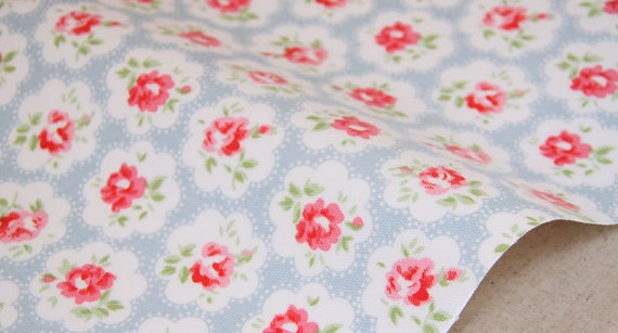 2888 - Cath Kidston Provence Rose (Light Blue) Oilcloth Waterproof Fabric - 28 Inch (Width) x 17 Inch (Length)