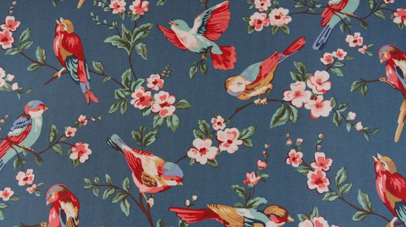 2896 - Cath Kidston British Birds (Dark Blue) Oilcloth Waterproof Fabric - 28 Inch (Width) x 17 Inch (Length)