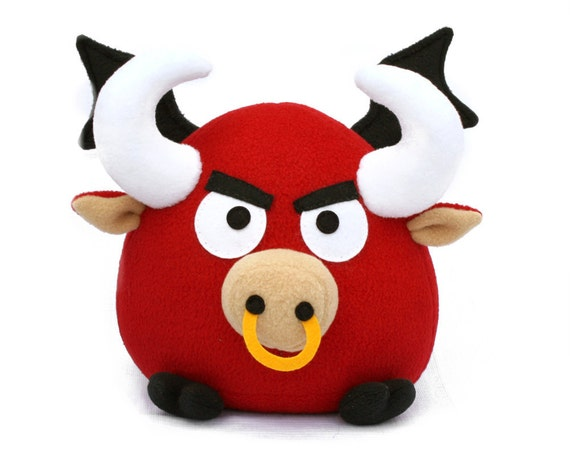 Ronky the flying red bull, fleece toy pattern PDF