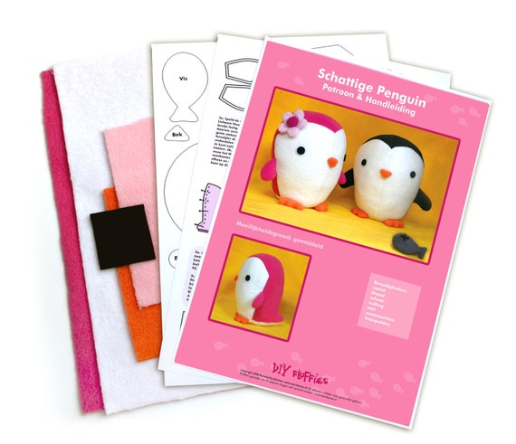 Two Cute plushie penguins sewing Kit