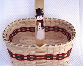 Hand Woven Market Basket with Hand Painted Snowman