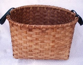 Laundry Basket Handwoven with Green Shaker Tape Handles