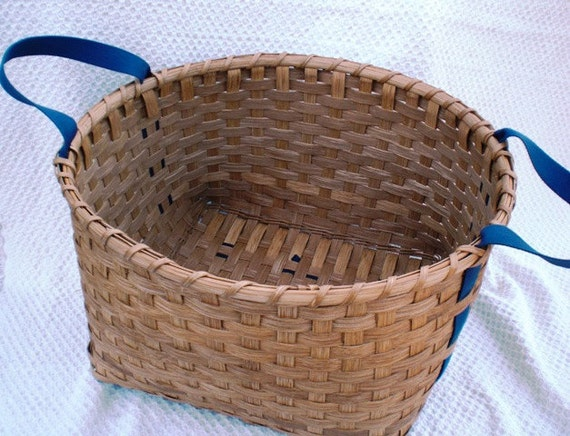 Laundry Basket Handwoven Blue Shaker Tape Handles - Special Listing for Angie