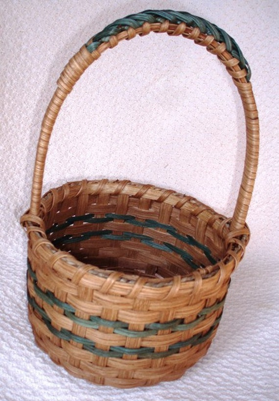 Round Easter Basket in Teal Handwoven
