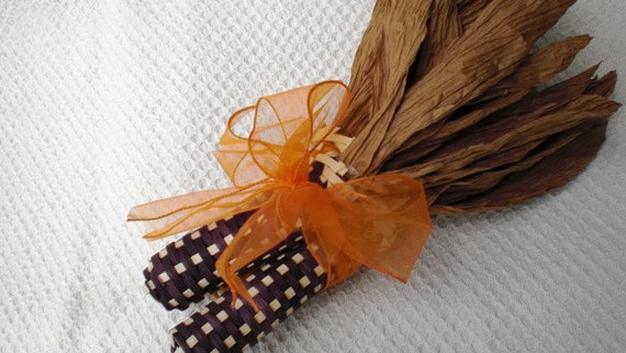 Indian Corn Handwoven two brown and one orange - 101