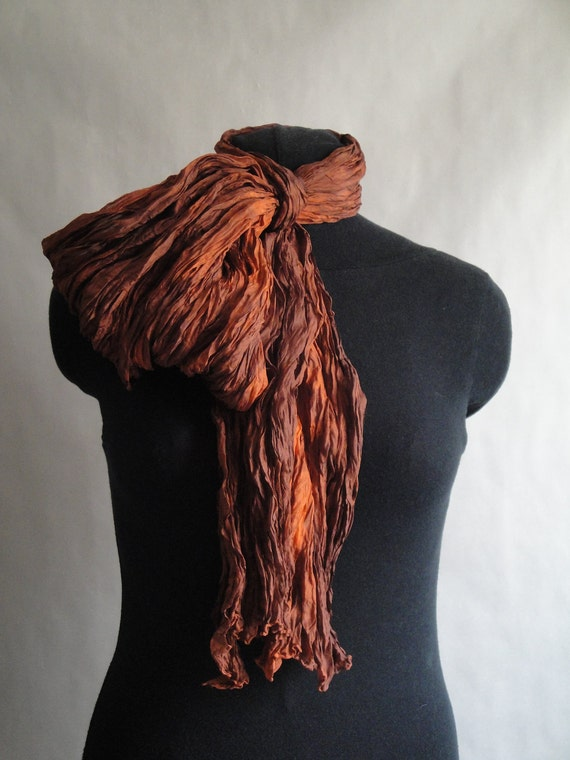 Silk Shawl Scarf Wrap  Orange Hand Dyed Extra Long from Pleats Please collection - Flame