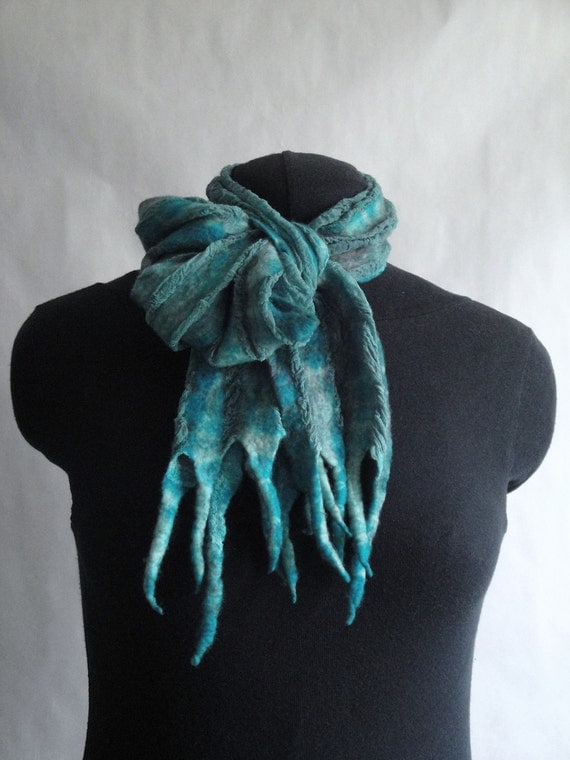 RESERVED - Turquoise Nuno Felted Scarf Shibori Dyed Fiber Art OOAK from Light and Airy Collection - Aqua di Mare
