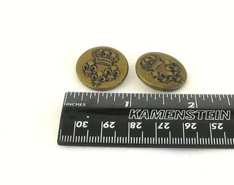 Buttons, Vintage, brass, crown, fleur de lis, C, destash