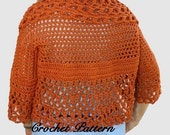 Lacy Sweater style Shrug Crochet Pattern PDF, fits sizes child to adult plus sizes, Your Hook Your Yarn series, digital download