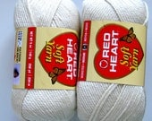 Red Heart Soft yarn, WHITE,  medium worsted weight