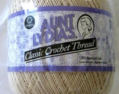 Crochet Cotton Thread, NATURAL, 1000 yards LARGE ball, size 10, Aunt Lydia's Classic