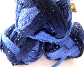 Red Heart Boutique Sashay yarn,  RUMBA,  ruffling scarf yarn, super bulky weight,  purple blue