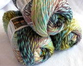 Red Heart Boutique Treasure yarn in WATERCOLORS, Wool blend yarn, teal, green, yellow, mauve, blue shades, worsted weight