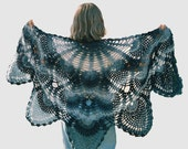 Women's Vintage inspired Antique Pineapple Lace Shawl, blue shades