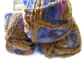Boutique Magical yarn ABRACADABRA, worsted weight self striping art  yarn, brown and blue shades, variegated yarn