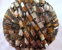 Ladder Ribbon Yarn, CARAMEL MAUVE, wide ribbon yarn, trellis yarn, champagne brown gold, Maxi 76