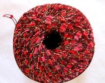 Ladder Ribbon  yarn, BRIGHT ROSE Red, trellis yarn, railroad yarn, sparkle yarn, Berlini East Track II Yarn, 42