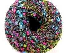 Ladder Ribbon Glitter yarn, JASMINE, pink, blue, green rainbow metallic jewel tones,  railroad yarn, trellis yarn, 86