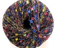 Glittery Ladder Ribbon yarn,  BLUE PARADE, blue, red, gold,  metallic trellis yarn, railroad yarn, necklace yarn, 89