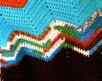Easy Afghan Crochet pattern, Chevron pattern, Stashbuster Ripple Afghan pattern, PDF, leftover yarn pattern, digital download