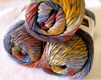 Wool blend yarn, Red Heart Boutique Treasure yarn in HORIZON, subtle shades of mauve, red and blues, worsted weight