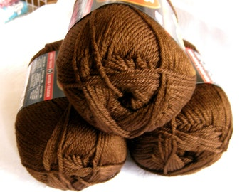 Red Heart Soft yarn, dark CHOCOLATE brown,  medium worsted weight