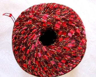 Ladder Ribbon  yarn, BRIGHT ROSE Red, trellis yarn, railroad yarn, sparkle yarn, Berlini East Track II Yarn, 42