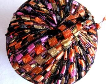 Berlini Ladder Ribbon Yarn,  VEGAS, trellis yarn, black  gold orange purple, Maxi 75