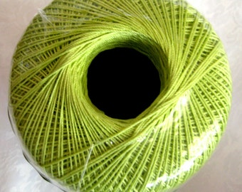 Aunt Lydias Classic Crochet cotton Thread, WASABI green, size 10, mercerized,  color 397, lime green
