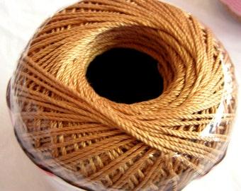 Aunt Lydias Fashion Crochet cotton thread, COPPER MIST, Size 3 thread, light brown, dark gold thread