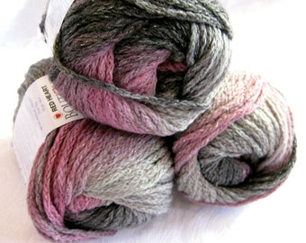 Boutique Midnight SHADOW  Wool blend yarn, worsted weight, grey pink metallic hints