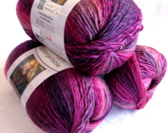 Red Heart Boutique Unforgettable yarn in PETUNIA,  shades of purples rose, worsted weight yarn