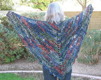 Crocheted  Lace Shawl, Butterfly style, navy blue wool bamboo and cotton blend