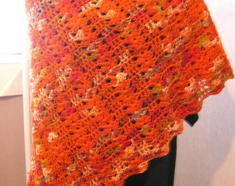 Ladies Lace Evening Shawl,  Fire orange, wool and cotton blend, crocheted, butterfly style