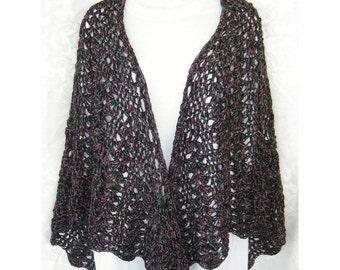 Womens Open Lace silk & cotton blend Butterfly Shawl,  ladies lace wrap, teal purple black,  evening wear
