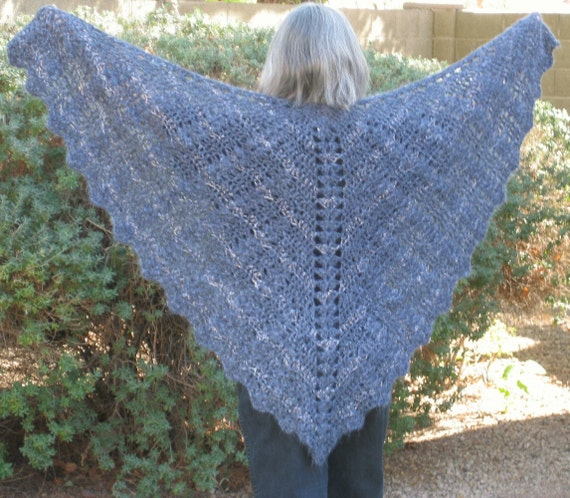 Ladies Shawl, Crocheted Lace Butterfly Prayer Shawl, Silver Gray Symphony