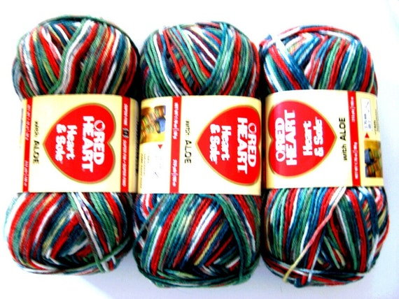 Red Heart Heart And Sole Sock Yarn Christmas Stripe By