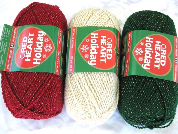 Red Heart Holiday Yarn, Victorian 3 pack, worsted weight yarn, red Wine, Aran, hunter green with gold metallic thread