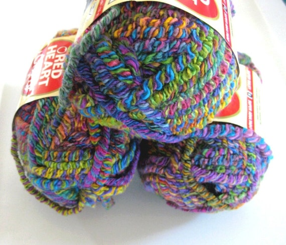Red Heart Curly Q yarn,  Calypso, the yarn with stretch, bulky weight, kaleidoscope colours