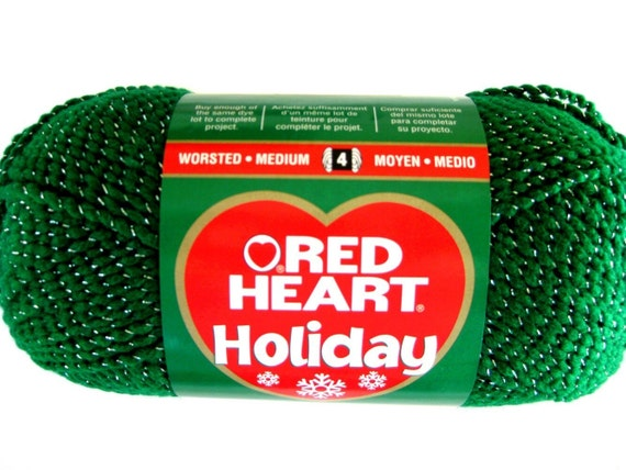 Red Heart Holiday Yarn, Emerald Green with Silver Sparkle Metallic thread