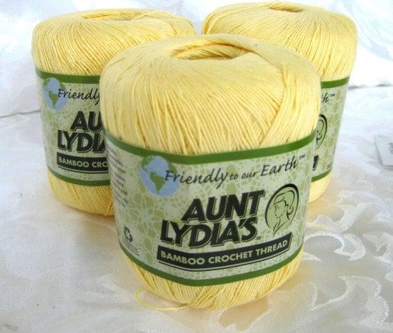 Aunt Lydias Bamboo Crochet Thread,  BUTTERCUP Yellow, size 10