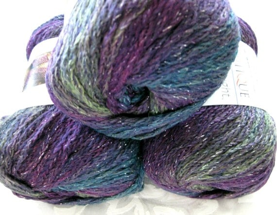 Boutique Midnight, Wool blend yarn, AURA, worsted weight, mauve, teal, purple, metallic hints
