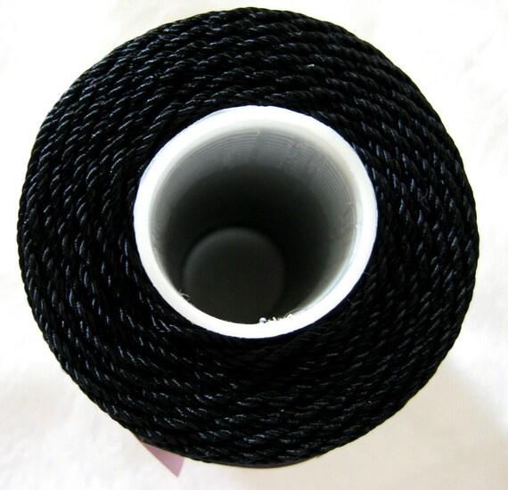 Black 3 ply Nylon cord,  size 18, Crochet nylon, macrame cord, yarn