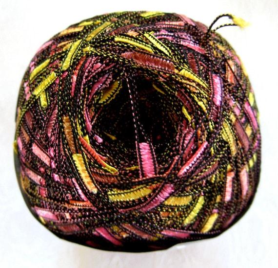 Ice Ladder Ribbon  yarn, trellis yarn,  pink yellow orange brown, Lux ladder