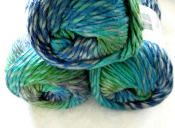Wool blend yarn, worsted weight, Boutique Treasure yarn in MOSAIC, subtle shades of green and blue, Red Heart