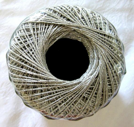 Aunt Lydias Fashion Metallic cotton thread, Silver with silver metallic thread, size 5, 410S