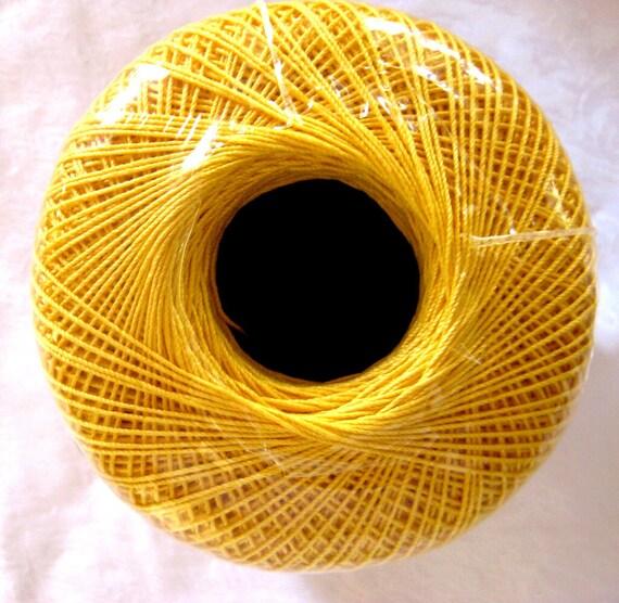 Aunt Lydias Crochet Cotton Thread,  GOLDEN YELLOW, size 10, Classic Crochet thread, 422, yellow gold thread